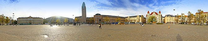 A panoramic view of Helsinki Central Railway Station and its surroundings.