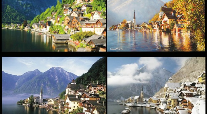 Color of all four seasons on the Lake Hallstatt